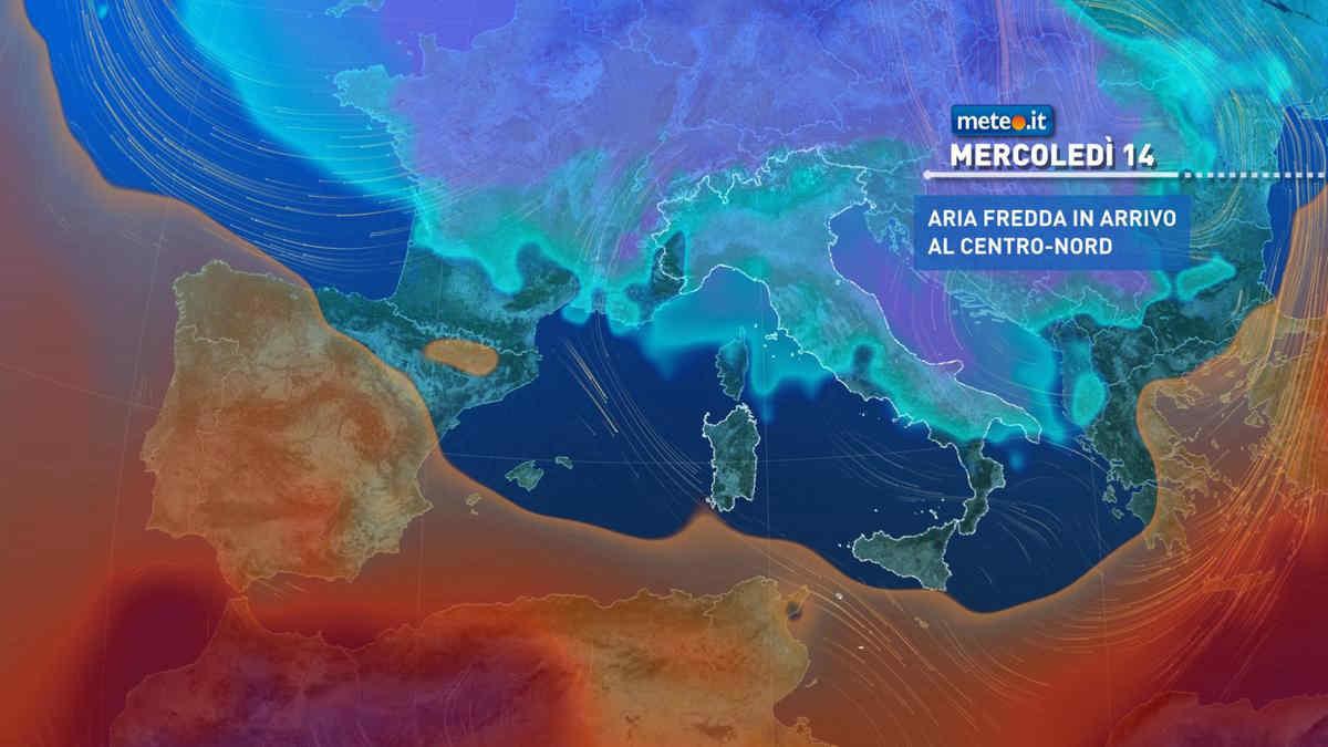 Meteo, correnti fredde sull'Italia: temperature sotto la norma anche dopo mercoledì 14 aprile