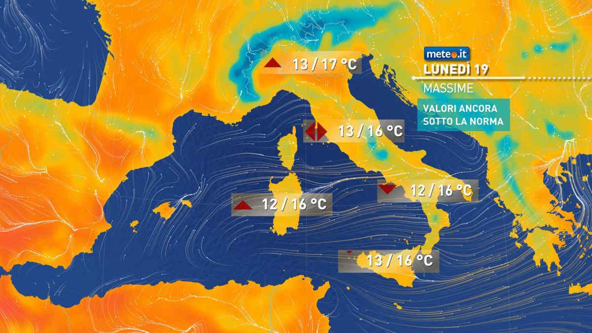 Meteo, oggi lunedì 19 aprile, avremo ancora piogge soprattutto al Centro-Sud