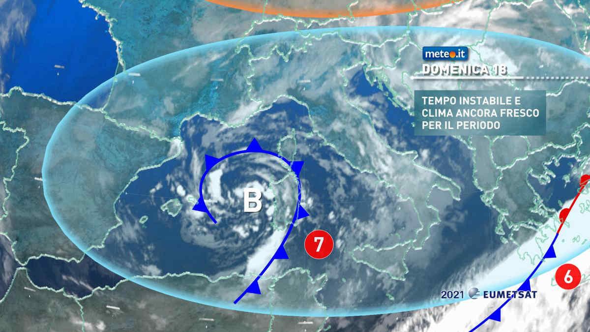 Meteo, domenica 18 aprile rovesci e temporali al Centro-Sud