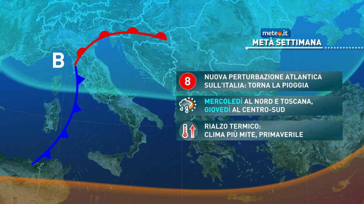 Meteo, mercoledì 21 aprile nuova perturbazione atlantica sull'Italia