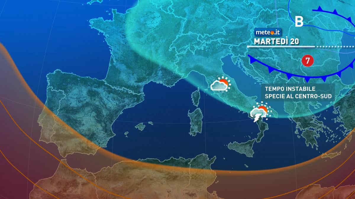 Meteo, 20 aprile ancora instabile sulle regioni del Centro-sud