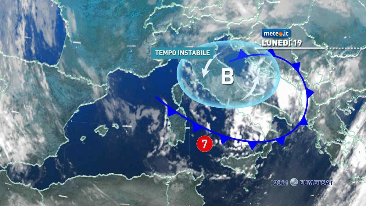 Meteo, 19 aprile con tempo ancora molto instabile sull'Italia