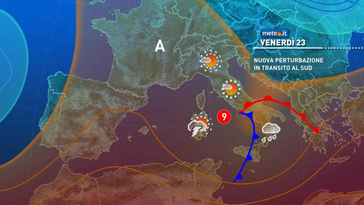 Meteo, 23 aprile con perturbazione in transito al Sud