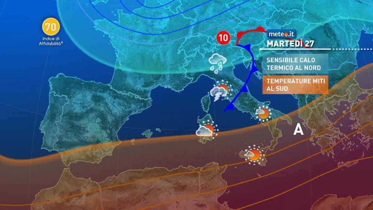 Meteo, dopo il 25 aprile Italia divisa in due