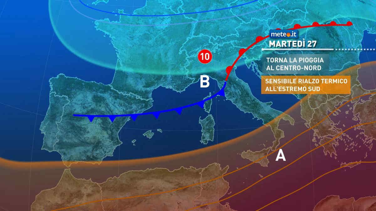 Meteo, martedì 27 aprile perturbazione e calo termico al Centro-nord