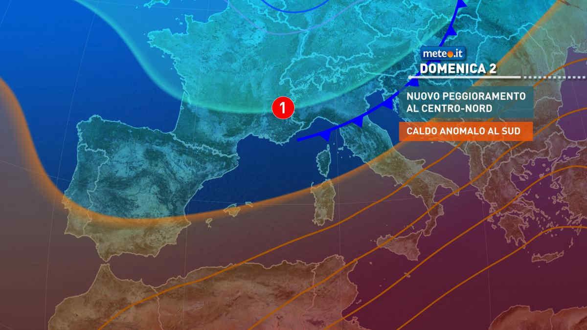 Meteo, domenica 2 maggio nuovo peggioramento al Centro-nord