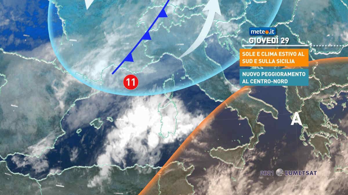 Meteo, 29 aprile con piogge al Centro-nord e caldo estivo al Sud
