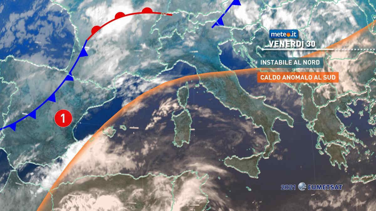 Meteo, 30 aprile instabile al Nord e caldo anomalo al Sud