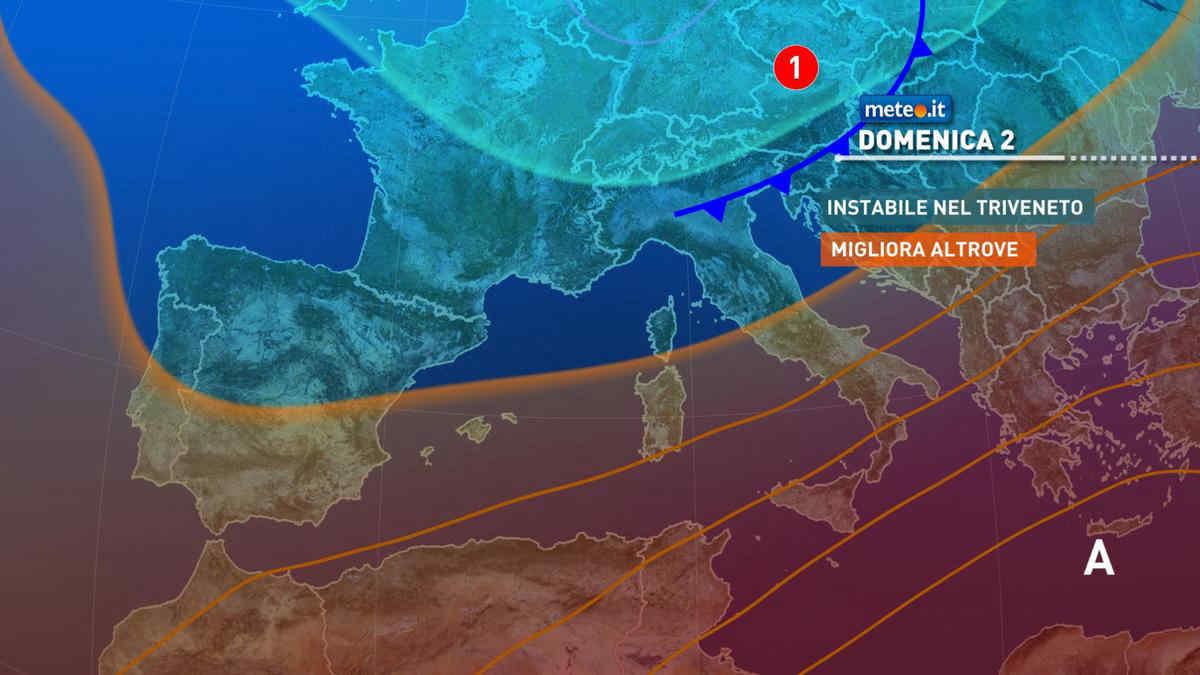 Meteo, domenica 2 maggio instabile al Nordest, migliora altrove
