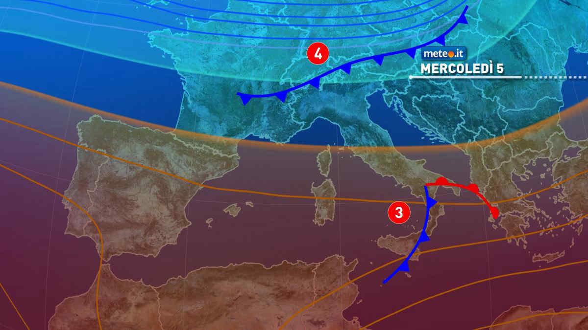 Meteo, mercoledì 5 maggio due perturbazioni sull'Italia