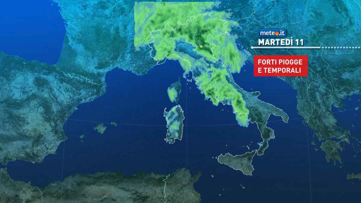 Meteo, 11 maggio con rischio di forti piogge e temporali