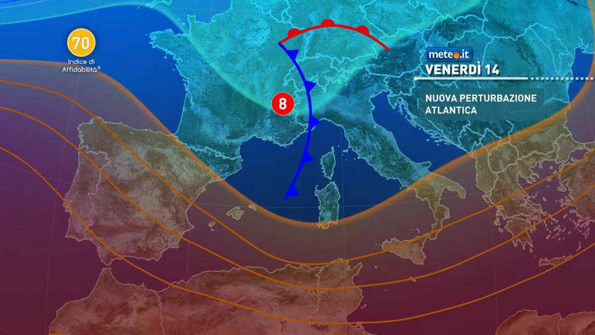 Meteo, venerdì 14 maggio nuovo carico di pioggia al Centro-nord