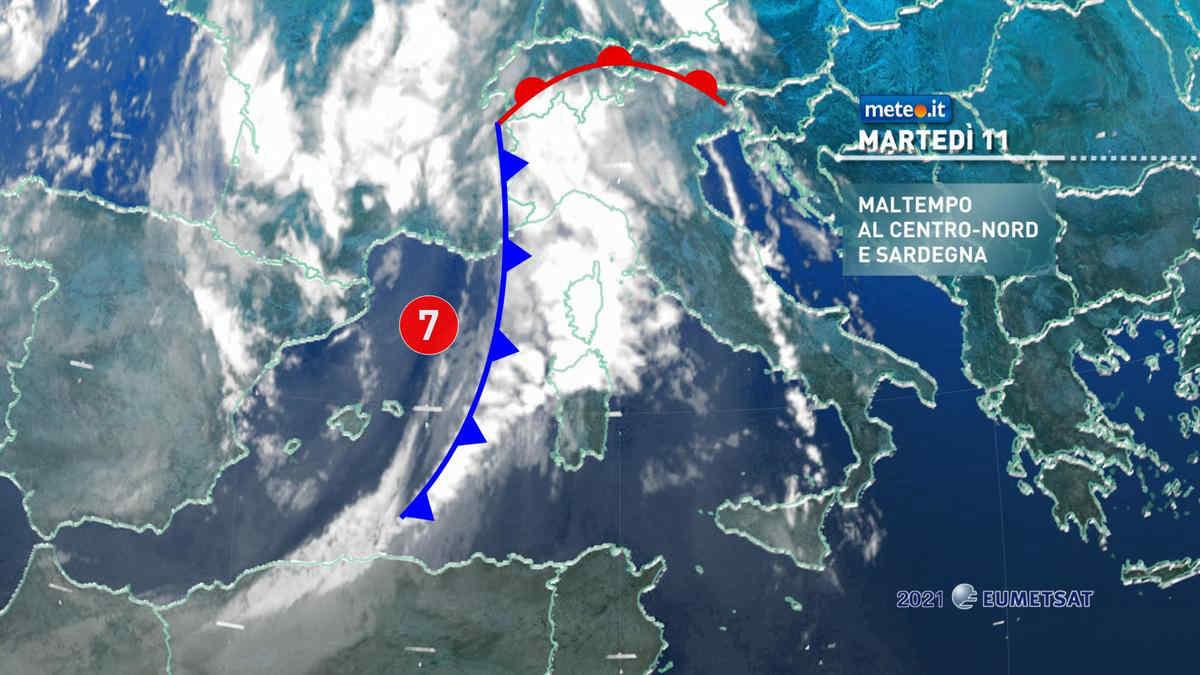 Meteo, 11 maggio con maltempo al Centro-nord e Sardegna