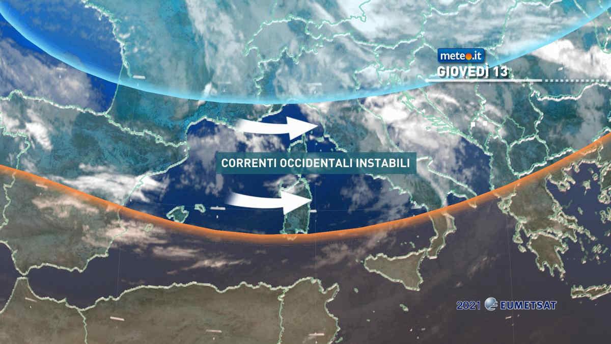 Meteo, giovedì 13 maggio tempo instabile e temperature nella norma