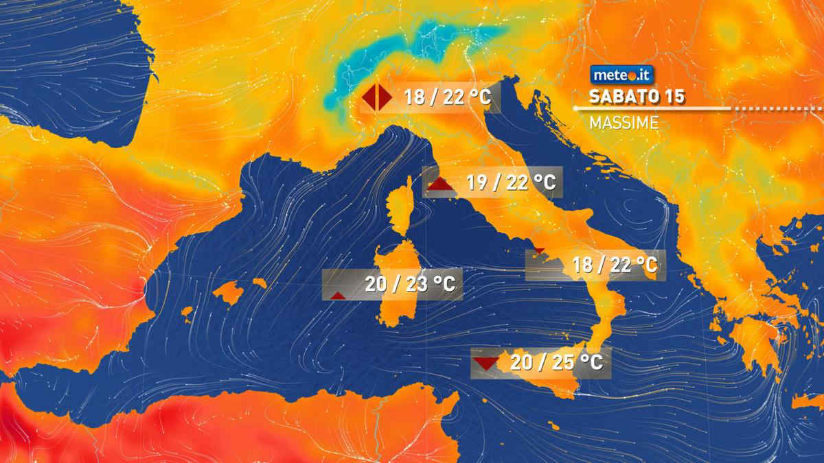 Meteo, sabato 15 maggio piogge e temporali al Nordest e al Sud