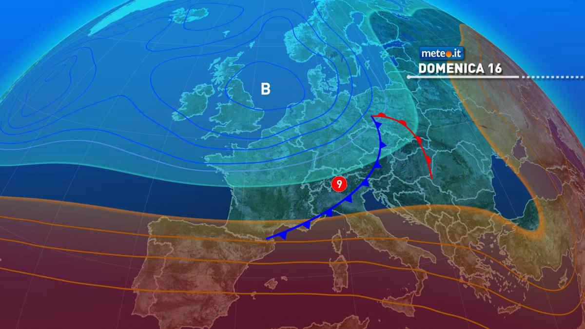 Meteo, domenica 16 maggio nuova perturbazione al Centro-nord