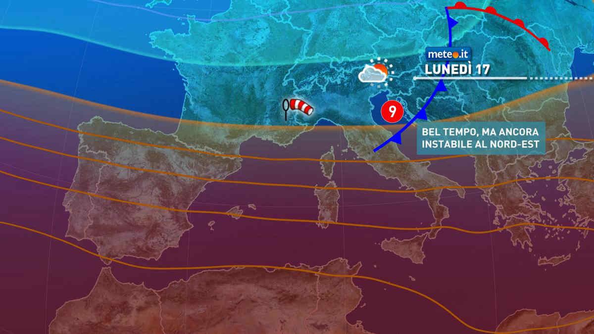 Meteo, 17 maggio instabile al Nordest e caldo al Sud