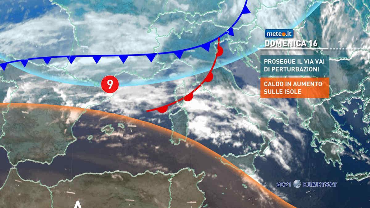 Meteo, 16 maggio con perturbazione al Centro-nord e caldo sulle Isole