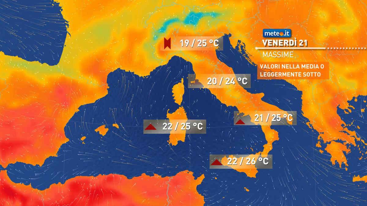 Meteo, tra venerdì 21 maggio e sabato 22 perturbazione al Nord. Nel weekend caldo estivo al Sud