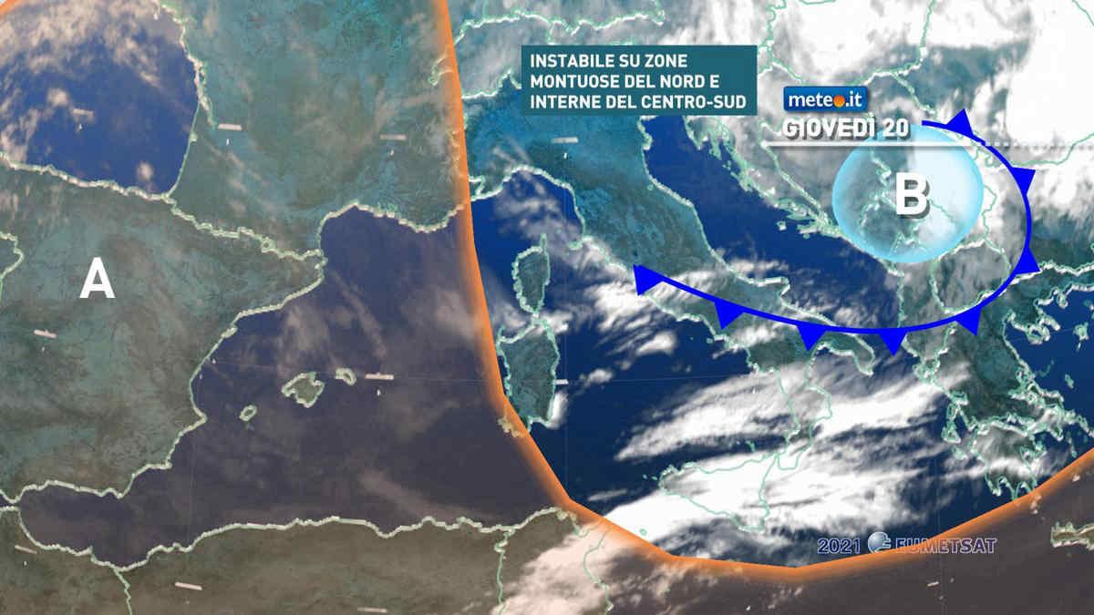 Meteo, giovedì 20 maggio con qualche breve fase instabile, in particolare sulle zone montuose