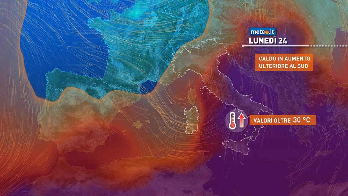 Meteo, lunedì 24 maggio forti piogge al Nord e oltre 30 gradi al Sud