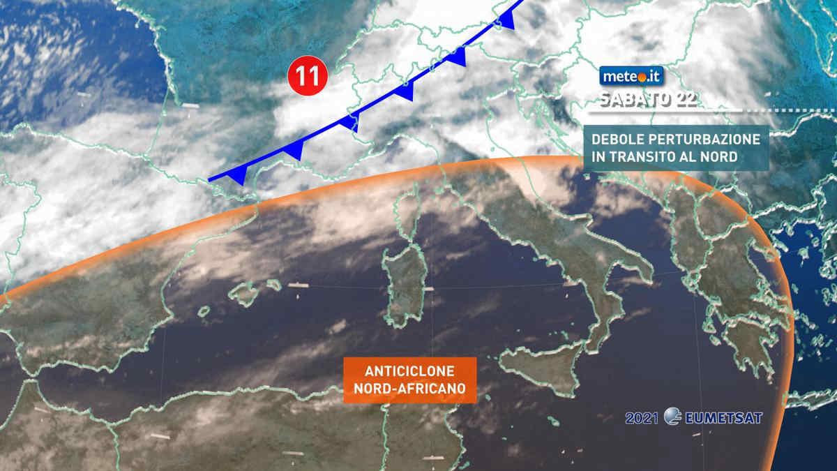 Meteo, sabato 22 maggio debole perturbazione al Nord, anticiclone africano al Sud