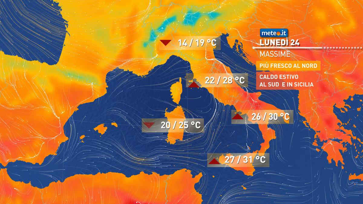 Meteo, oggi lunedì 24 maggio, forti piogge al Nord e parte del Centro. Sole e caldo al Sud
