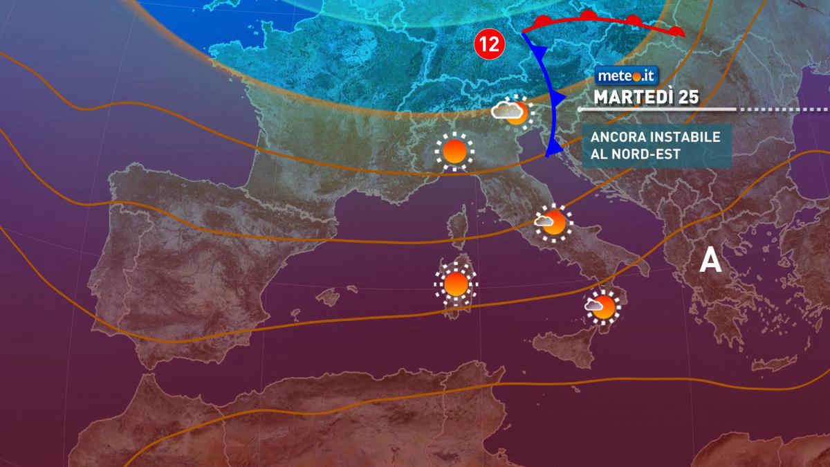 Meteo 25 maggio: ancora qualche pioggia al Nord-Est, si attenua il caldo al Sud