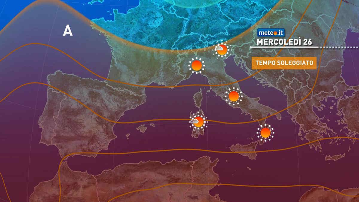 Meteo, 26 maggio con tempo stabile e clima mite