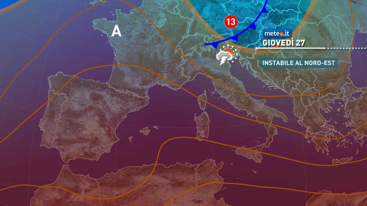 Meteo, giovedì 27 maggio debole perturbazione sulle Alpi e al Nord-Est