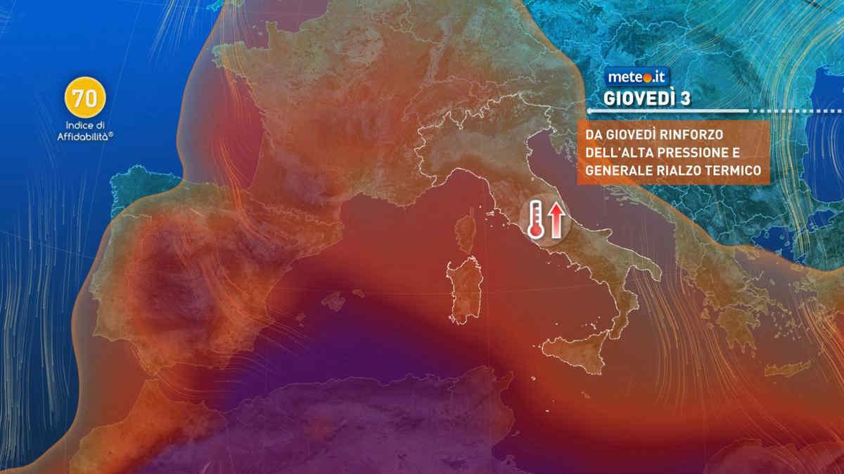Meteo, tra giovedì 3 e venerdì 4 giugno possibile rinforzo dell'alta pressione africana