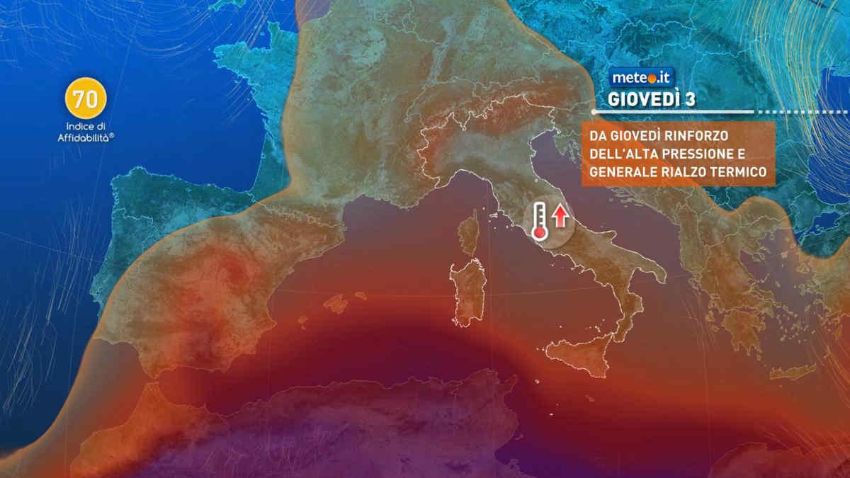 Meteo, da giovedì 3 giugno caldo estivo in intensificazione