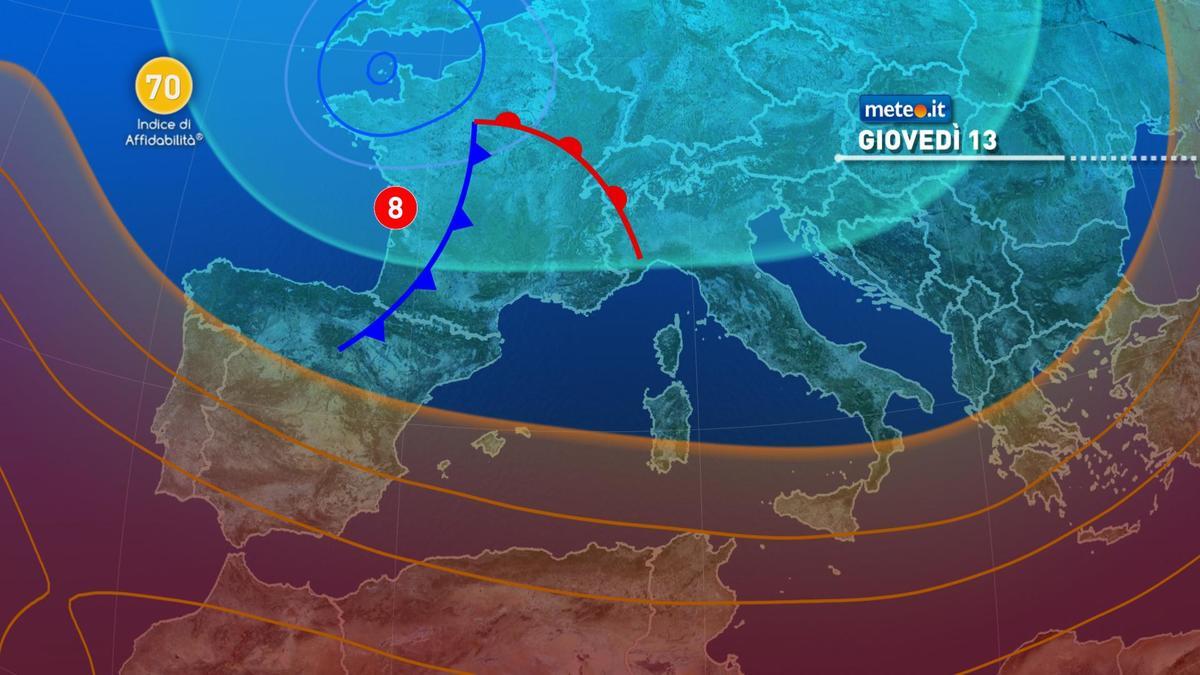 Meteo, 13 maggio con rischio di acquazzoni e temporali
