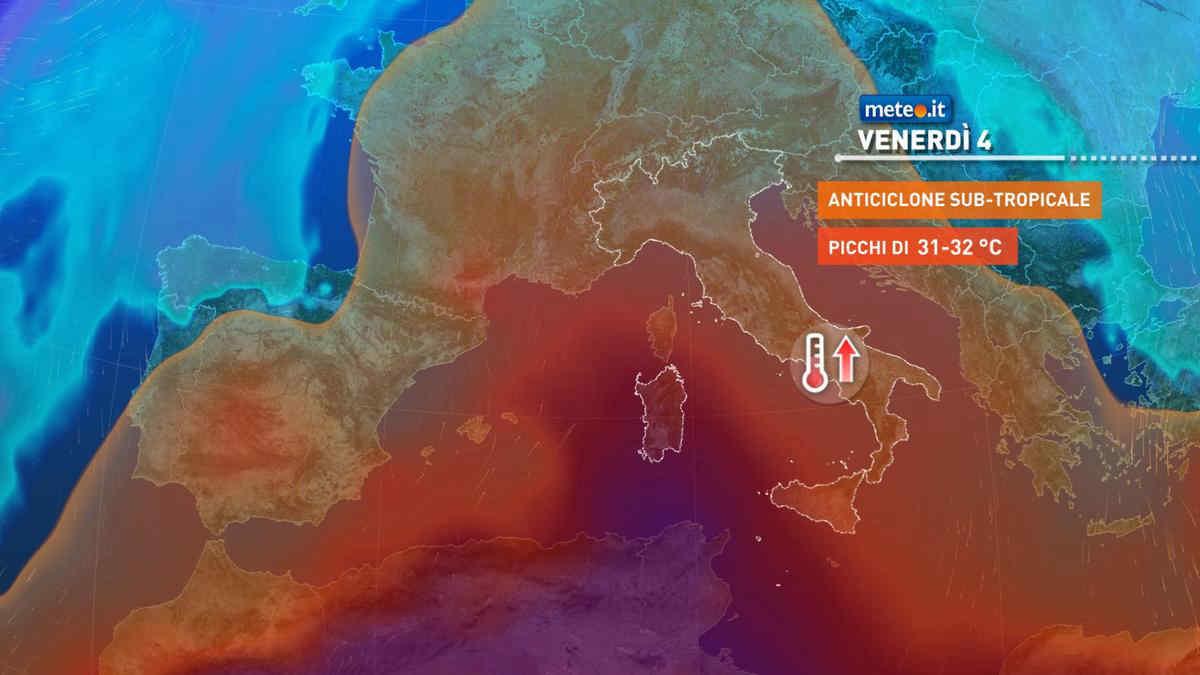 Meteo, caldo africano protagonista fino a sabato 5 giugno