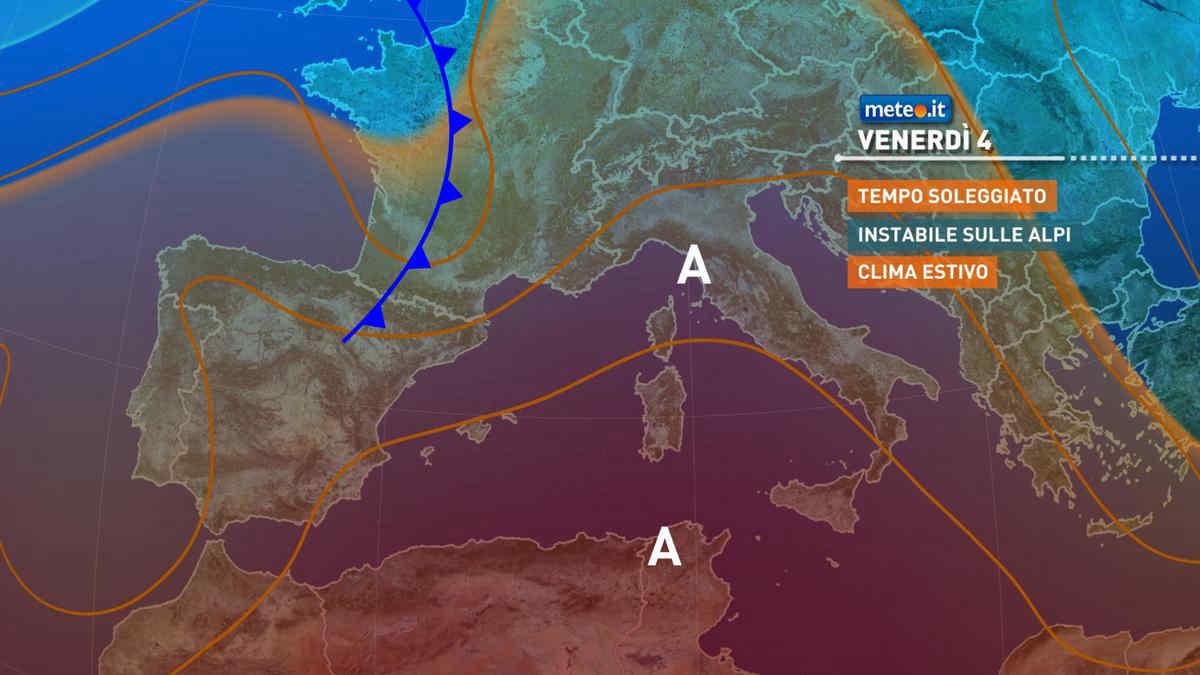 Meteo, venerdì 4 giugno le temperature si porteranno su valori decisamente estivi