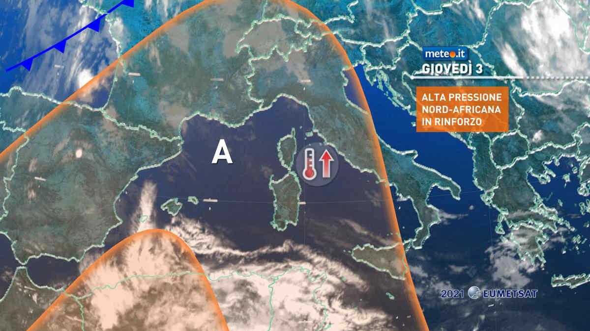 Meteo, giovedì 3 giugno alta pressione africana in rinforzo