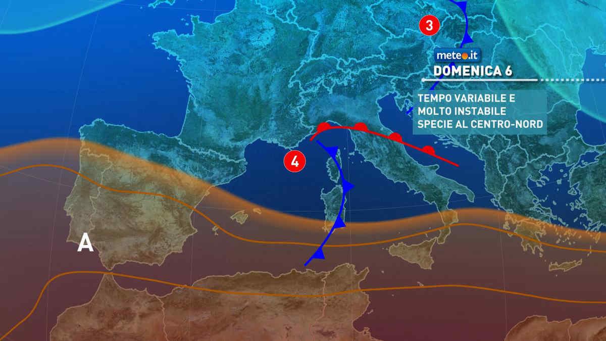 Meteo, domenica 6 giugno instabile e con temporali al Centro-nord