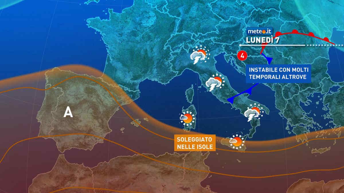 Meteo, 7 giugno molto instabile con rischio temporali