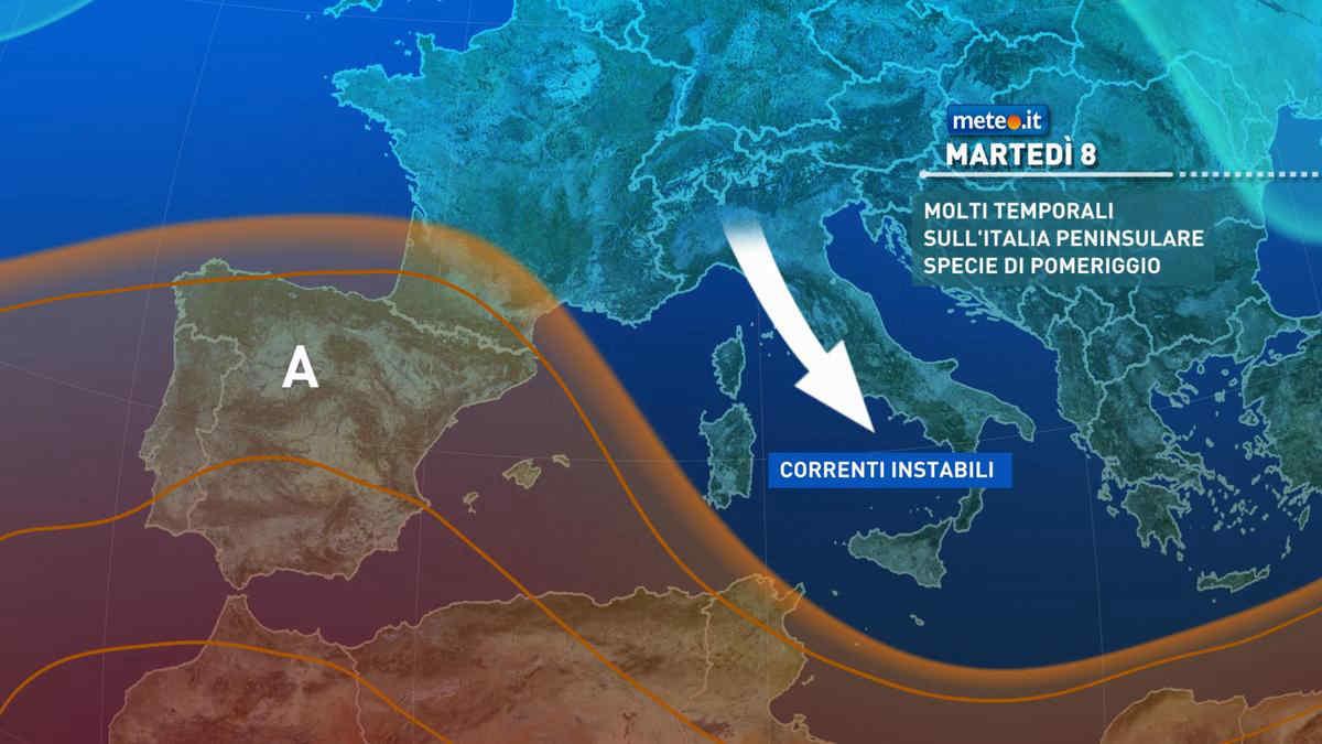 Meteo, 8 giugno a rischio temporali per molte regioni