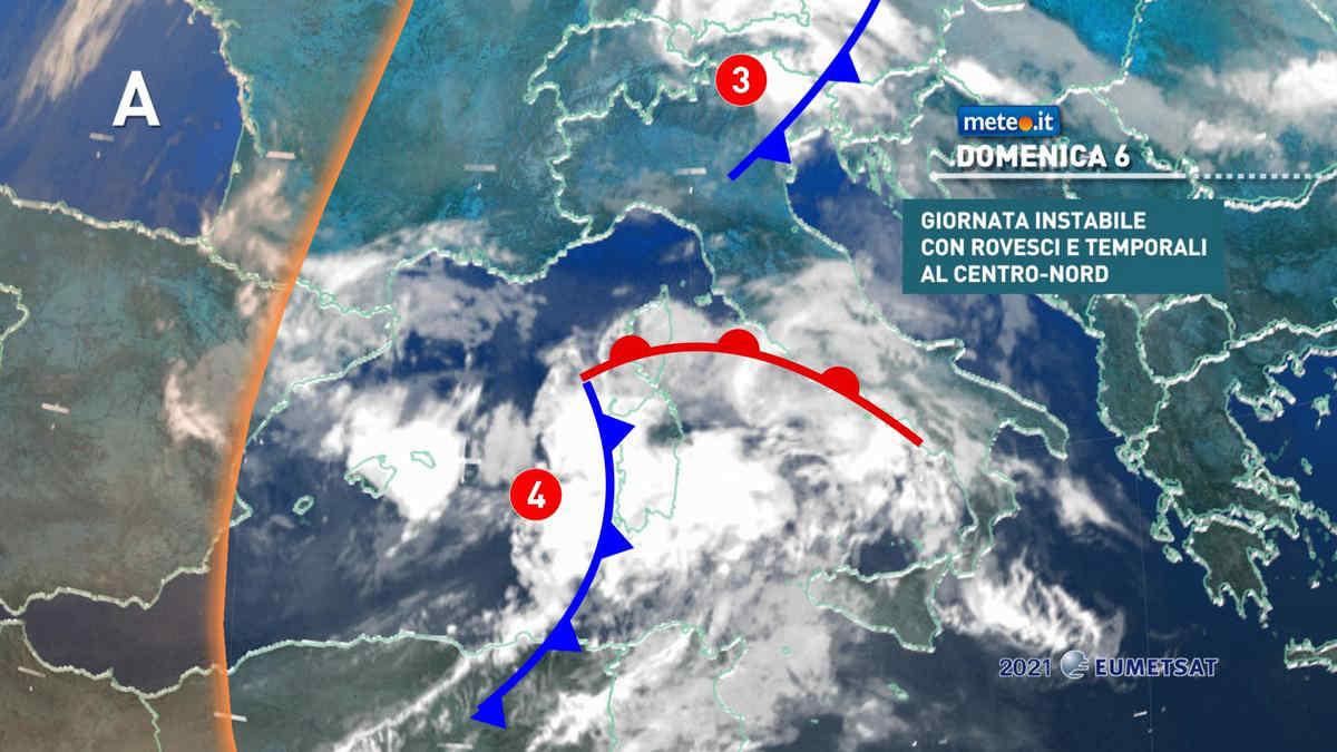 Meteo, domenica 6 giugno rischio di forti temporali al Centro-nord