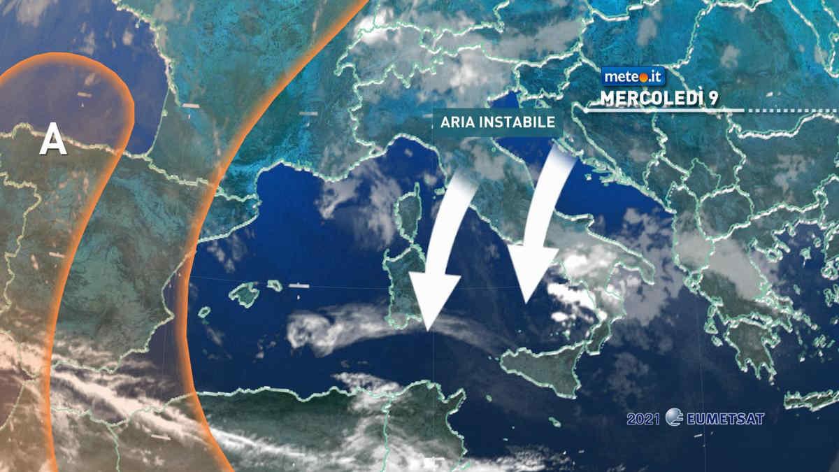 Meteo 9 giugno: temporali in aumento nel pomeriggio