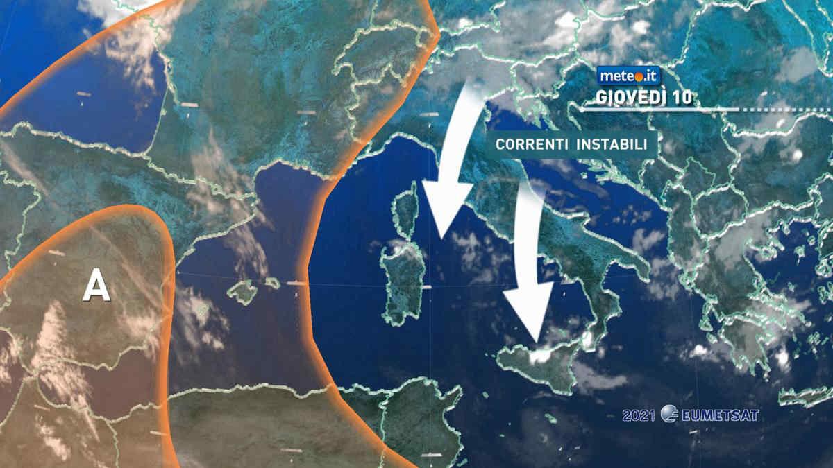 Meteo, 10 giugno ancora instabile: le zone a rischio temporali