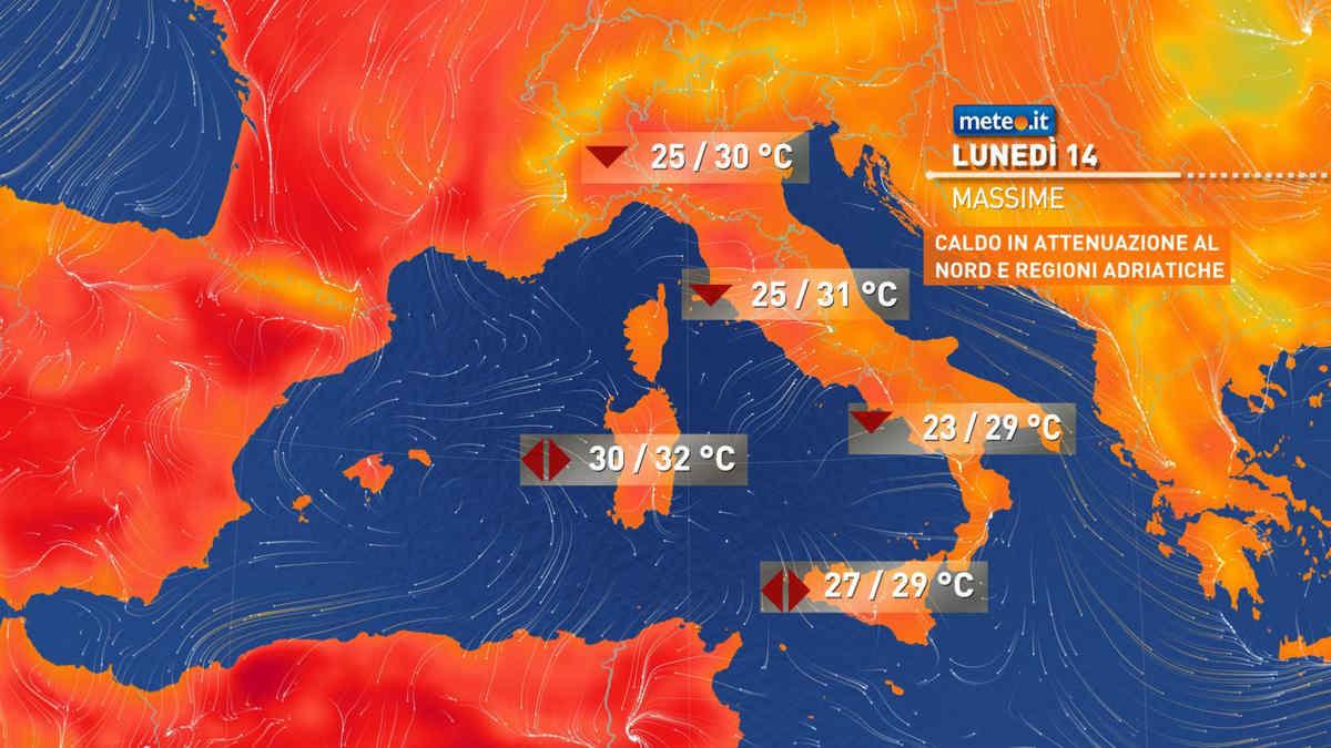 Meteo, oggi lunedì 14 giugno, venti più freschi al Nord e lungo l'Adriatico