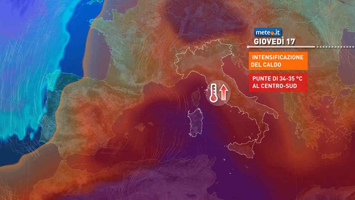 Meteo, da mercoledì 16 giugno caldo in aumento con punte di 34-35°C