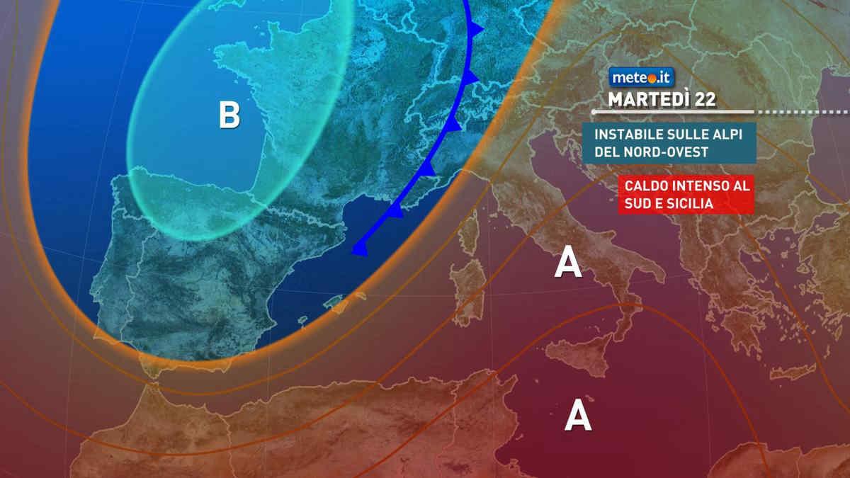 Meteo, 22 giugno caldo intenso al Sud, più instabile al Nord