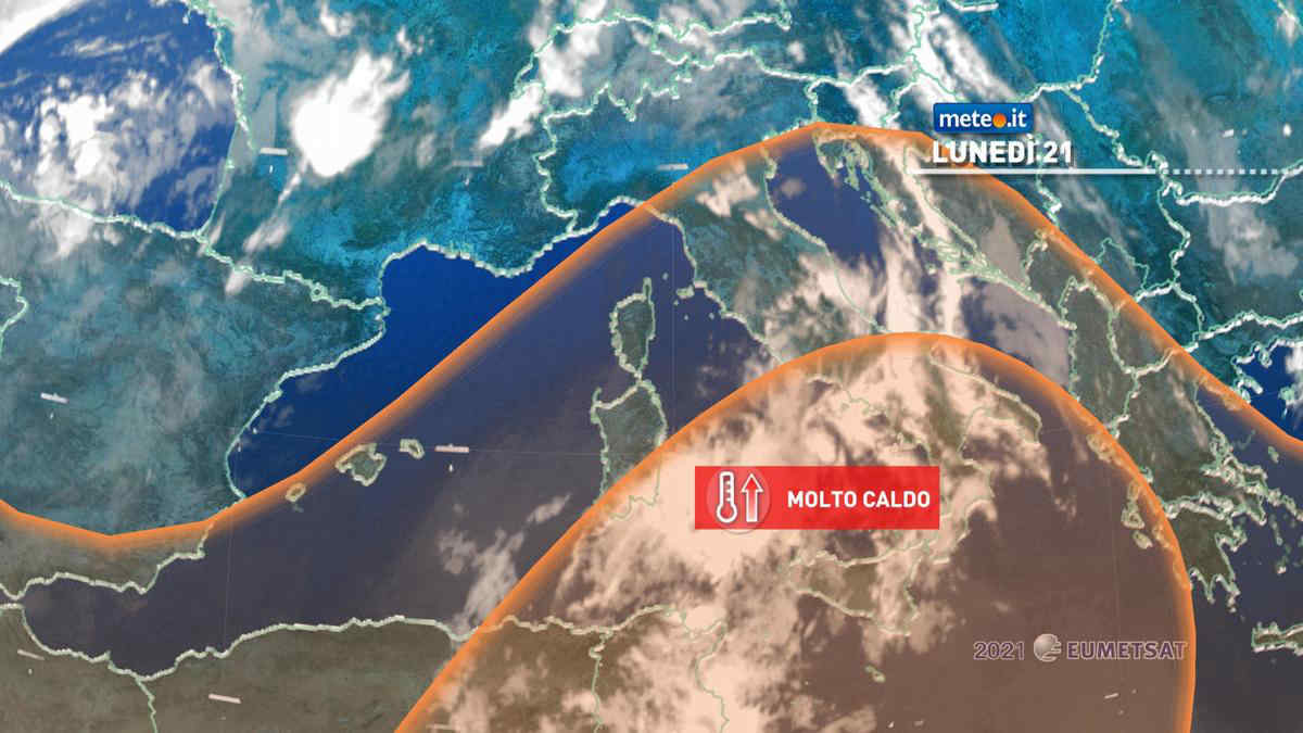 Meteo 21 giugno: aumenta il caldo al Sud e si attenua al Nord