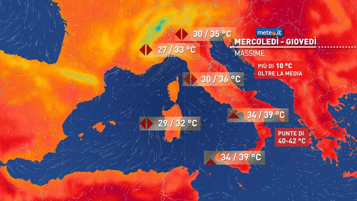 Meteo, tra mercoledì 23 e giovedì 24 apice del caldo al Sud e in Sicilia