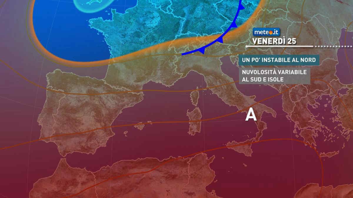 Meteo, venerdì 25 aumenta l'instabilità al Nord, caldo in lieve attenuazione al Sud
