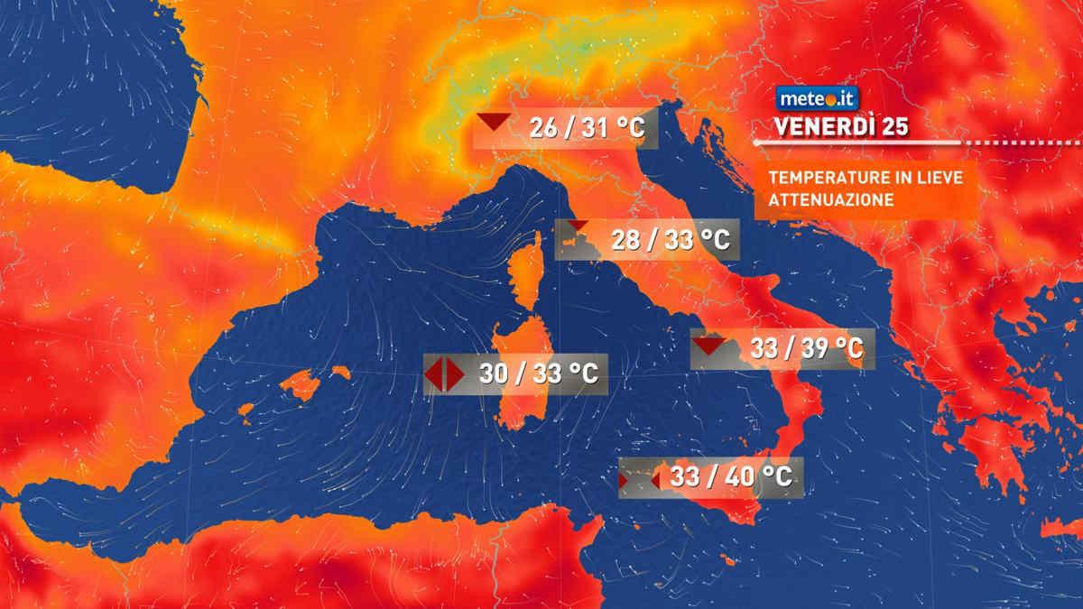 Meteo, 24 giugno caldo in lieve calo al Sud, qualche temporale in più al Nord