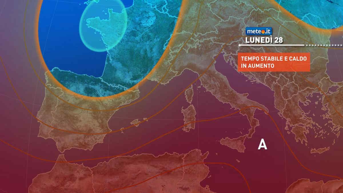 Meteo, da lunedì 28 nuova risalita di aria calda: temperature di nuovo oltre i 40 gradi